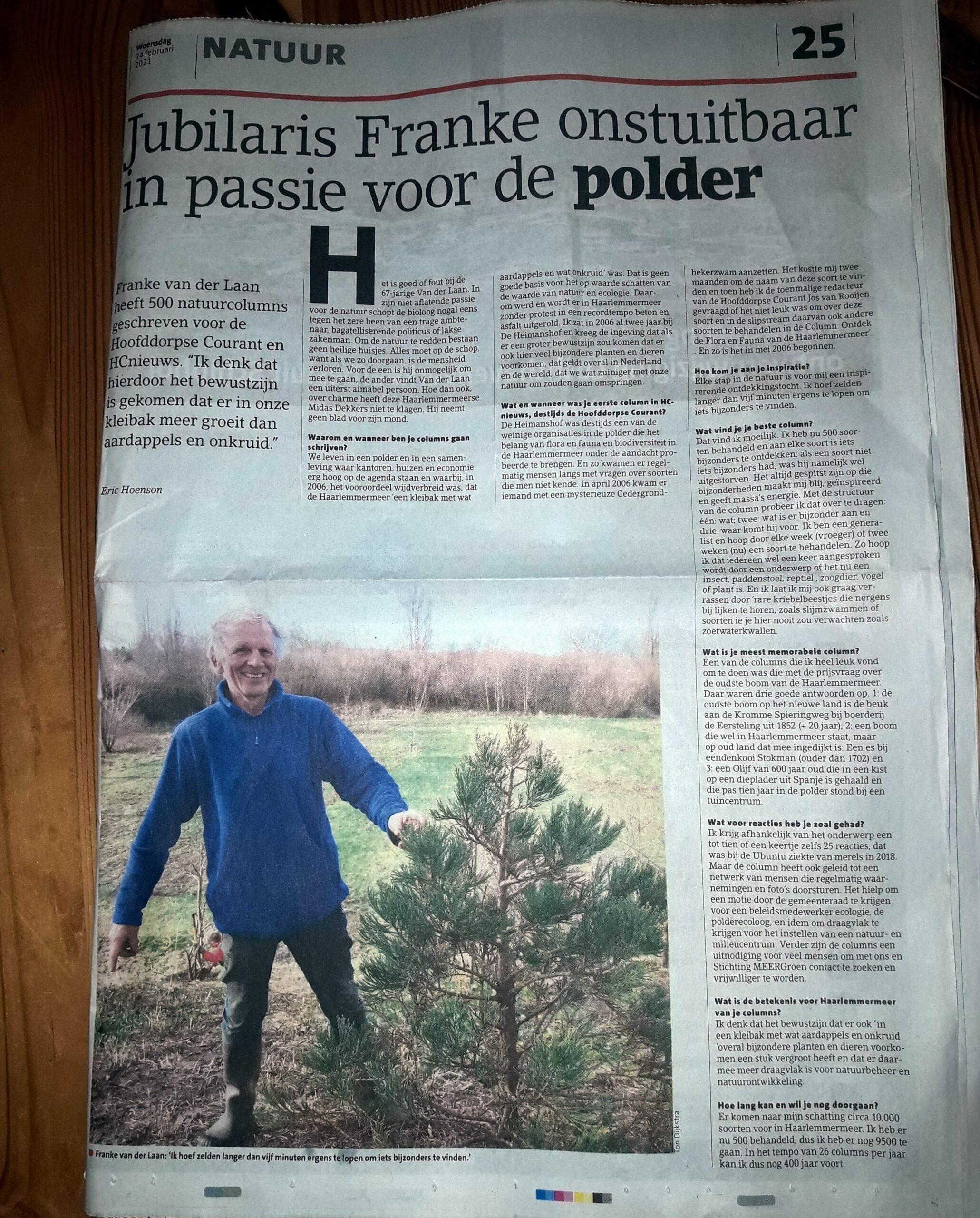 Jubilaris Franke onstuitbar in passie voor de polder